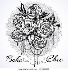 handdrawn beautiful roses over mandala ornate stock vector