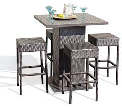 Garden Bar Table And Stools Venus Outdoor Pub Table With Bar Stools 5 Set Tropical