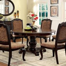 overstock dining room sets furniture of america oskarre brown cherry round dining table