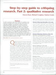 how to write an article critique paper step by step guide to critiquing research part 2 qualitative step by step guide to critiquing research part 2 qualitative research pdf download available