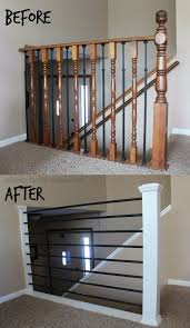 metal landing banister and railing diy banister floor flanges and black pipe support poles were