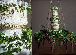 wedding cake greenery hanging wedding cake with trailing greenery and amaranthus by the