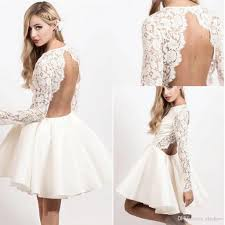 white lace dress with sleeves knee length 2017 cheap backless white lace prom dresses sleeves knee