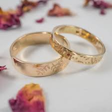 wedding bands in botanical wedding bands in 9ct yellow gold by fragment designs