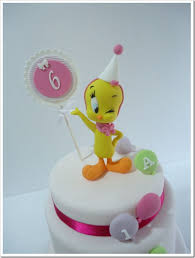 gorgeous tweety bird 6th birthday cake between the pages