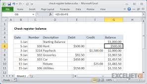 checkbook register for excel excel formula check register balance exceljet