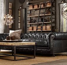 Tufted Brown Leather Sofa How To Decorate A Living Room With A Black Leather Sofa Tufted