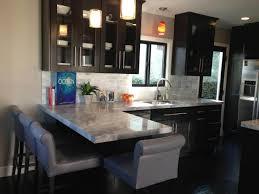 espresso kitchen cabinets with white quartz countertops espresso shaker cabinets with white quartz