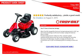product data sheet troy bilt 420cc riding lawn mower