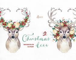christmas deer christmas deer 2 watercolor deers antlers flowers