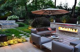 outstanding stone landscaping ideas with garden landscaping ideas with higher concrete deck and canopy