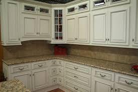 Rustic White Kitchen Cabinets - concrete countertops distressed white kitchen cabinets lighting