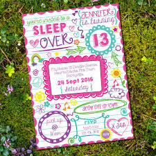 sleepover doodle invitation tween party slumber party