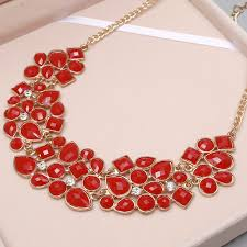 red big necklace images Minhin new popular 8 colors multicolor big pendant clavicle chain jpg