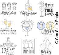 vector of bar happy hour promotion sign design template hand drawn