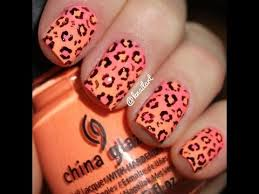 diy cute neon ombre nails with leopard print no tools needed