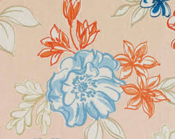 Upholstery Drapery Fabric Navy Orange Floral Upholstery Drapery Fabric Orange Navy