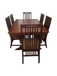 chair hand made oak farm table with mission style chairs by the
