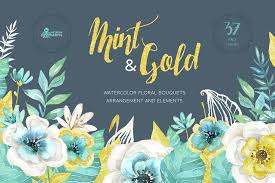 gold flowers mint gold flowers illustrations creative market