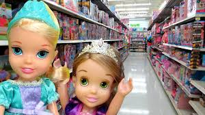 toy hunt with elsa and rapunzel toddlers lots of toys and dolls