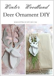painted semi deer ornament setting for four