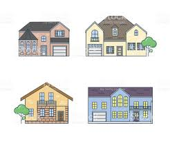 Home Design Stock Images by Flat Line Architecture Design Set Linear House Stock Vector Art