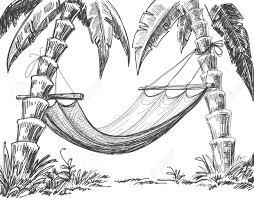 hammock and palm trees drawing royalty free cliparts vectors and