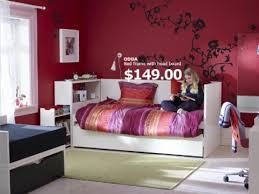 Ikea Bedroom Furniture Bedroom Teen Bedroom With Bed Frame And Red Wall Paint Color And