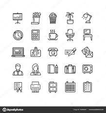 jeu de travail au bureau jeu de symboles bureau travail noir mince ligne icône vector
