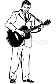 black and white vector sketch of a man playing an acoustic guitar
