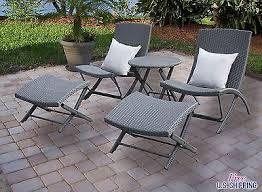 wicker patio furniture set lounge chair table ottoman garden