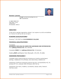 Simple Format For Resume 28 Simple Resume Format Doc File Download Resume Template