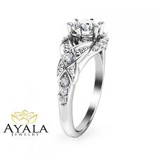 14k white gold filigree engagement ring with 0 60ct natural