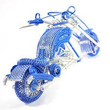 harley davidson wire art motorcycle model sculpture blue