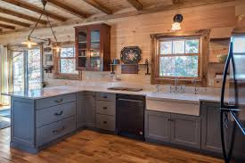 blue kitchen cabinets in cabin log cabin gets a blue kitchen rustic kitchen