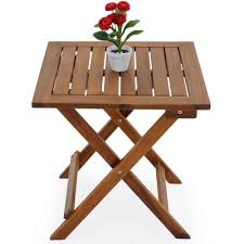 Folding Wooden Garden Table Deuba 46x46cm Acacia Wood Bistro Table Coffee Side Snack Table