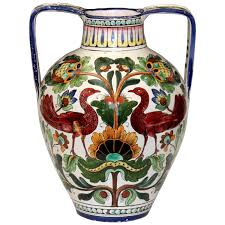 piediluco large old antique italian pottery faience majolica jug