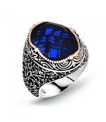 mens stone rings images Silver men ring with blue stone jpg