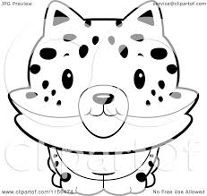 cartoon clipart of a black and white baby bobcat smiling vector