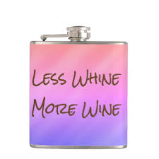less whine more wine funny gift hip flask wine funnies