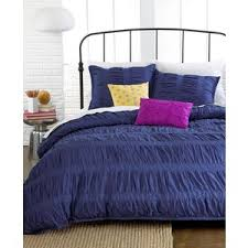 ruched stripes navy 3 piece king duvet cover set ideanuova