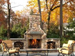 Stacked Stone Outdoor Fireplace - build stacked stone backyard fireplace patio designs elaborate