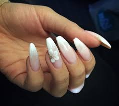 Light Pink Acrylic Nails Ombré White To Light Pink On Coffin Shape Nails With 3d Acrylic
