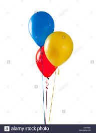 gold balloons blue and gold balloons on a white background stock photo
