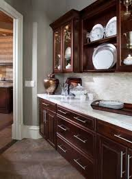 kitchen cabinets and countertops ideas cherry kitchen cabinets with gray wall and quartz countertops
