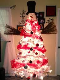 snowman tree snowman tree pre lit white tree walmart mesh ribbon sams
