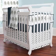 Bedding Set Crib Navy And Gray Elephants 3 Mini Crib Bedding Set Carousel