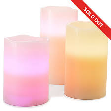set of three battery operated led color changing flameless candles