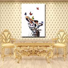 animal head home wall decorations cartoon giraffe oil paintings