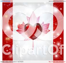 clipart of a shiny red heart and fireworks over a canadian flag